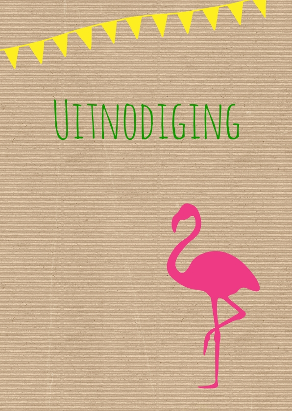 Uitnodigingen - Uitnodiging Kraft flamingo
