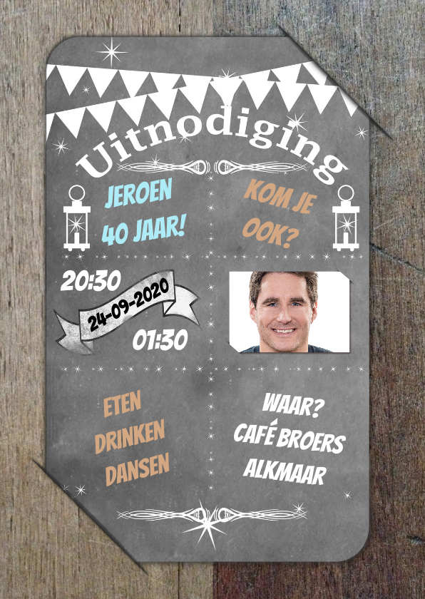 Uitnodigingen - Uitnodiging krijtbord op hout b