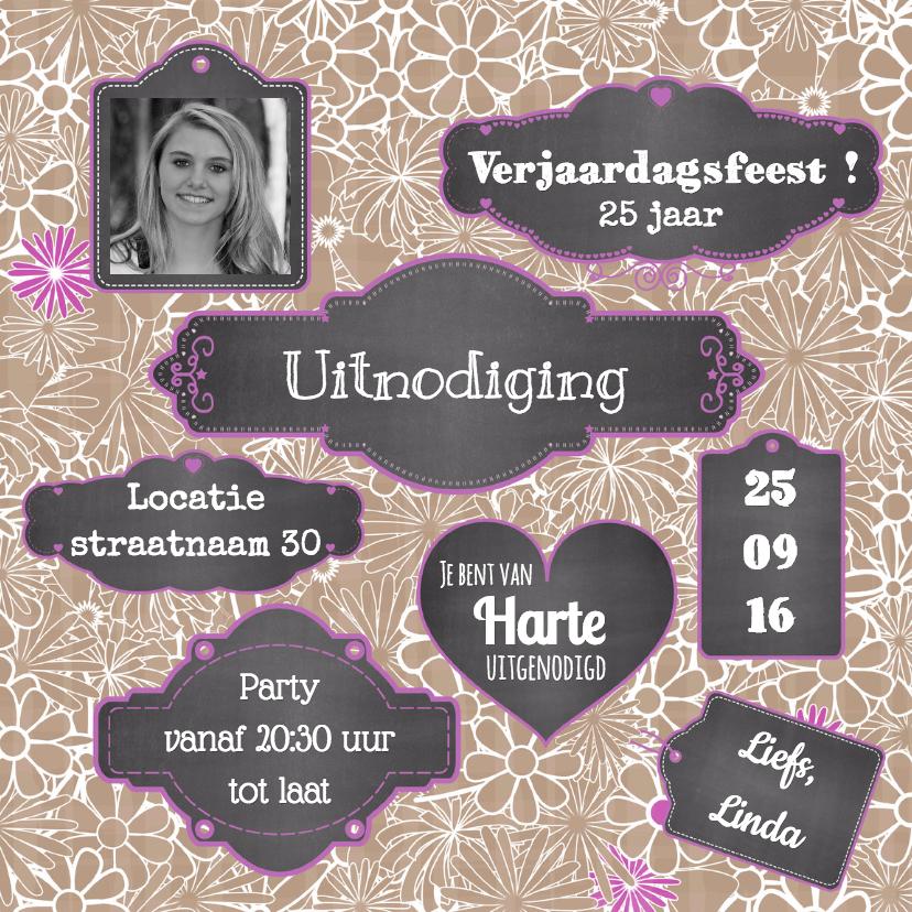 Uitnodigingen - Uitnodiging label krijtbord V-HB