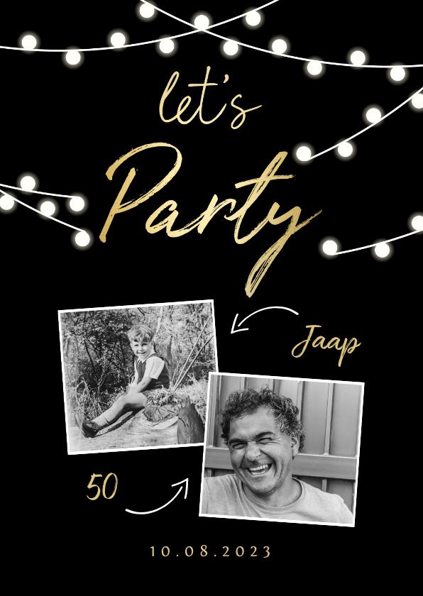Uitnodigingen - Uitnodiging lampjes gouden 'let's party' met foto's
