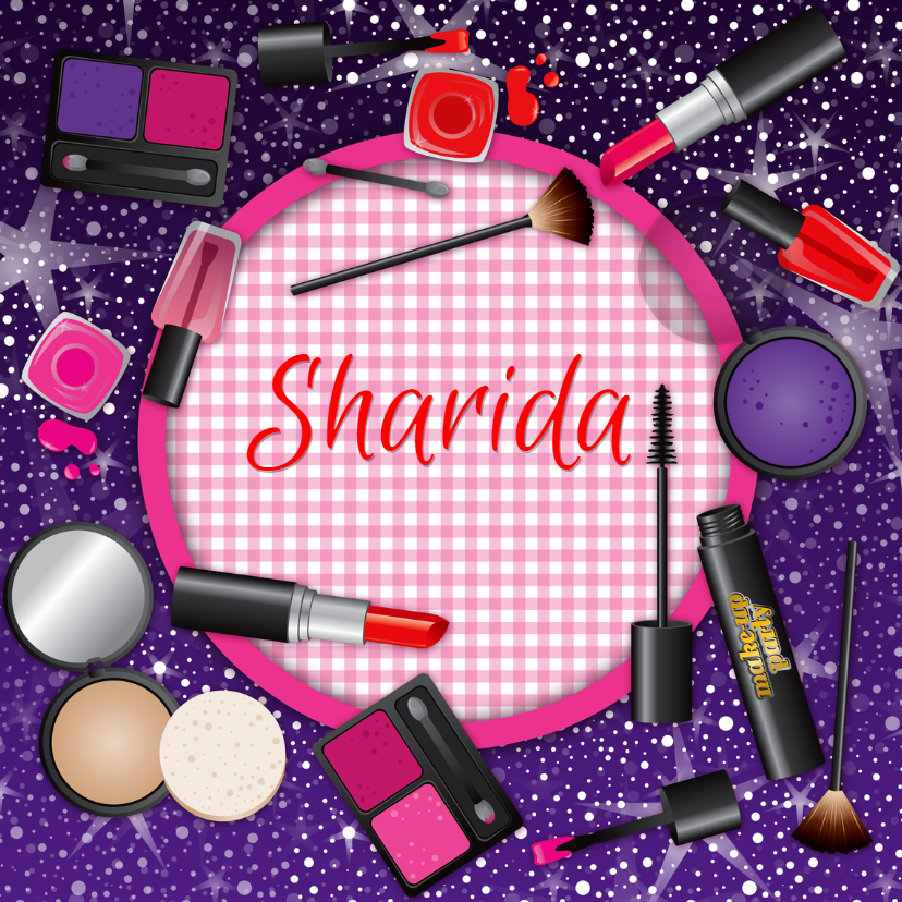 Uitnodigingen - uitnodiging make up glamour naam