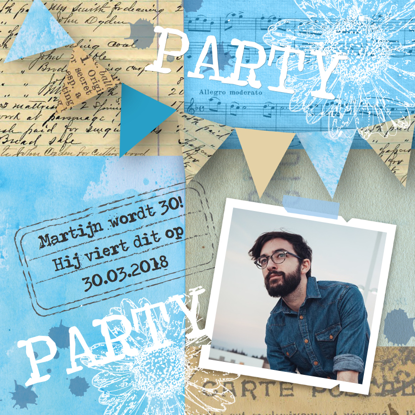 Uitnodigingen - Uitnodiging man foto blue