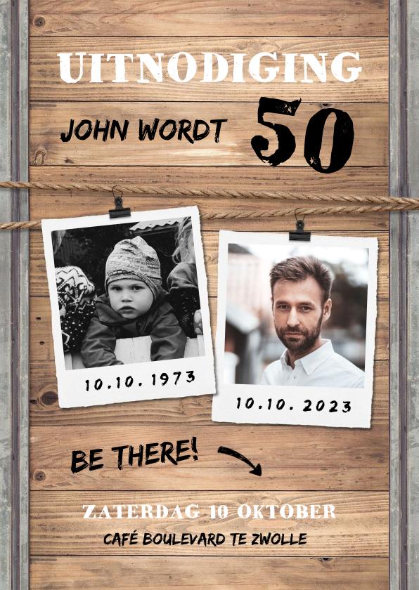 Uitnodigingen - Uitnodiging man industrieel met hout, staal en foto's