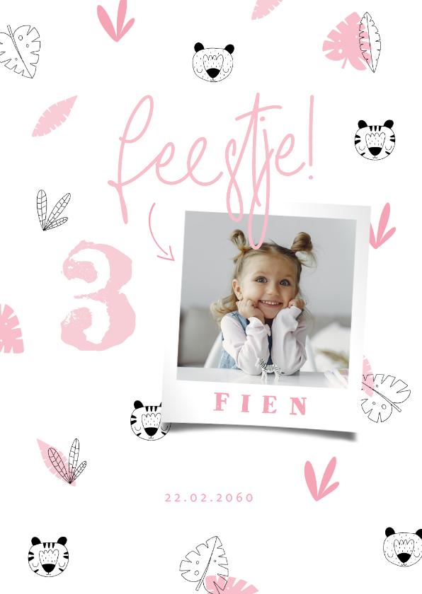 Uitnodigingen - Uitnodiging meisje roze jungle patroontje met foto