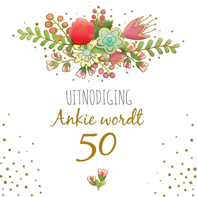 Uitnodigingen - Uitnodiging met grafische bloemen en gouden accenten