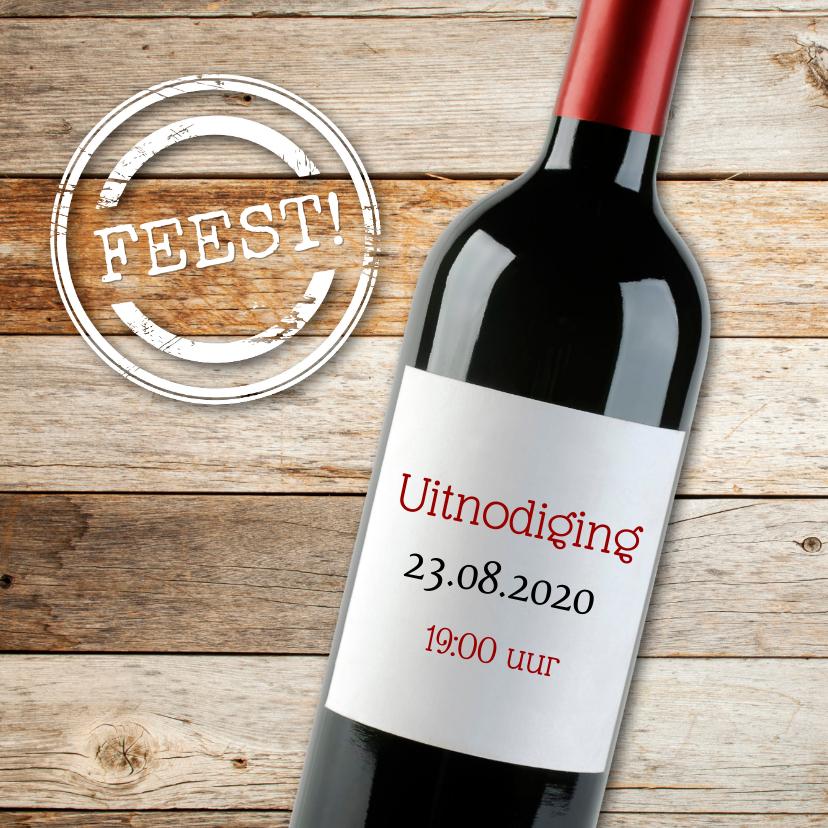 Uitnodigingen - Uitnodiging met rode wijn