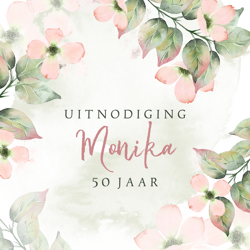 Uitnodigingen - Uitnodiging met roze bloemen in waterverf met foto