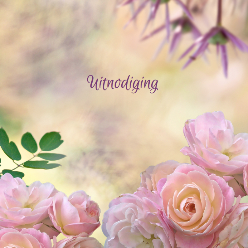 Uitnodigingen - Uitnodiging met rozen