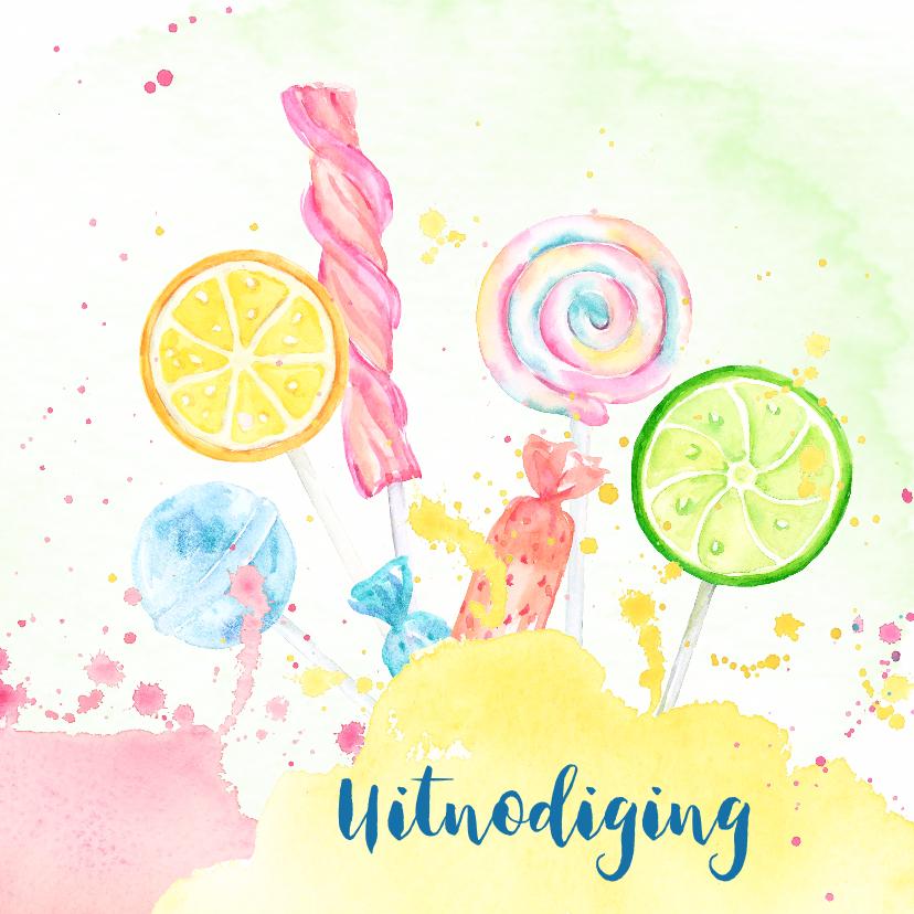 Uitnodigingen - Uitnodiging met snoepthema