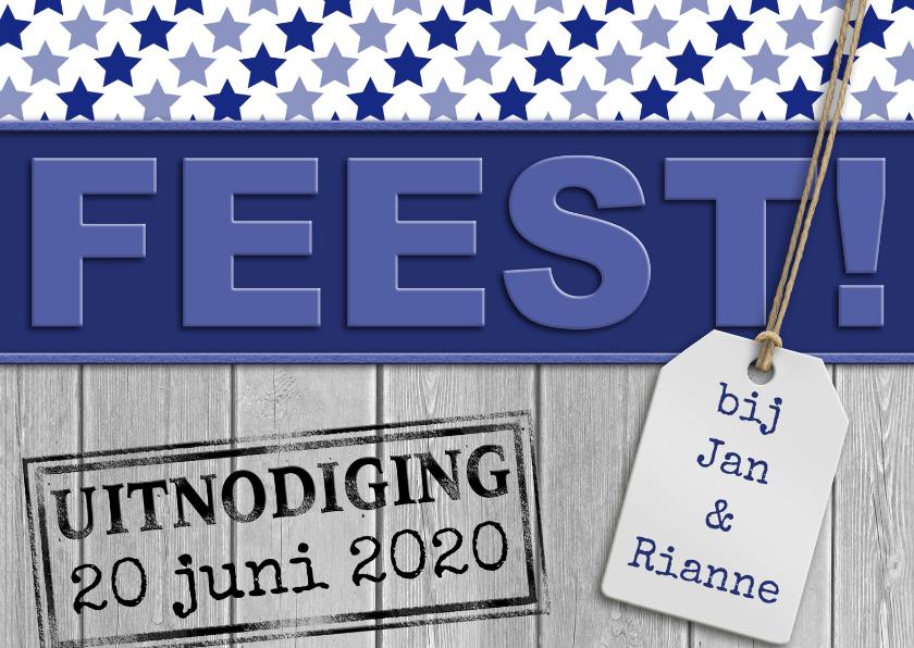 Uitnodigingen - Uitnodiging met tekst FEEST en sterretjes op steigerhout