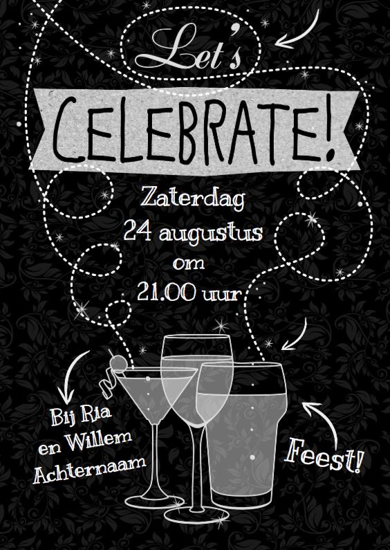 Uitnodigingen - Uitnodiging  met witte teksten Celebrate op krijtbord