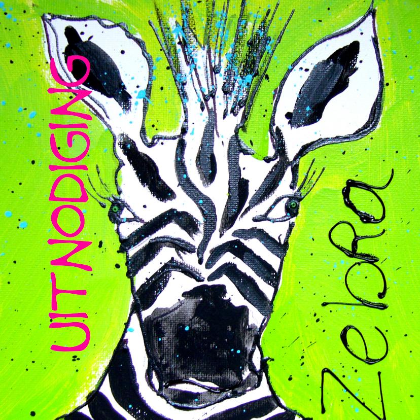 Uitnodigingen - Uitnodiging met zebra