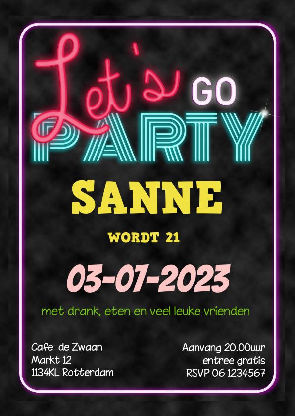 Uitnodigingen - Uitnodiging neon verjaardag