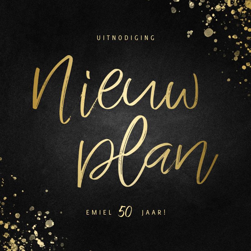 Uitnodigingen - Uitnodiging nieuw plan vierkant goud met spetters