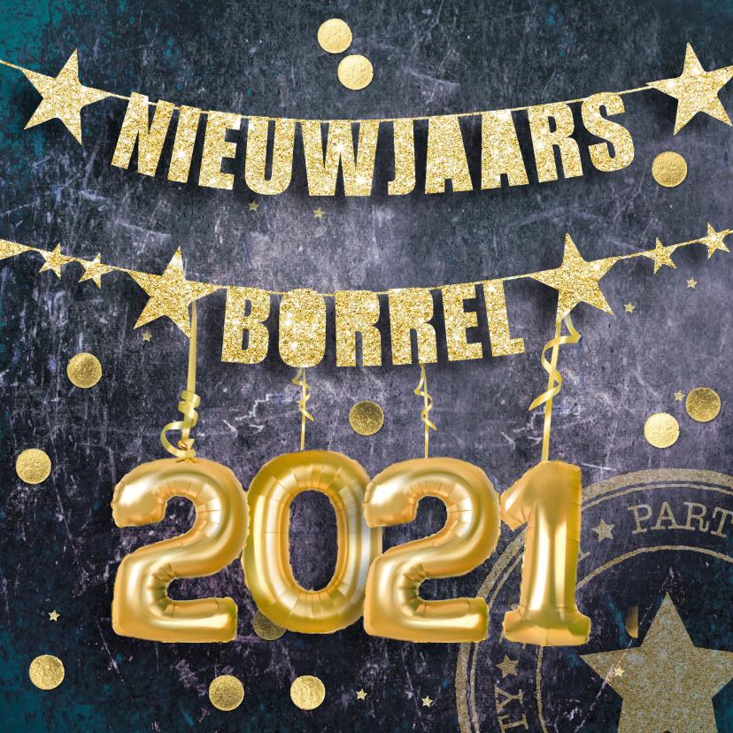 Uitnodigingen - Uitnodiging nieuwjaarsborrel confetti