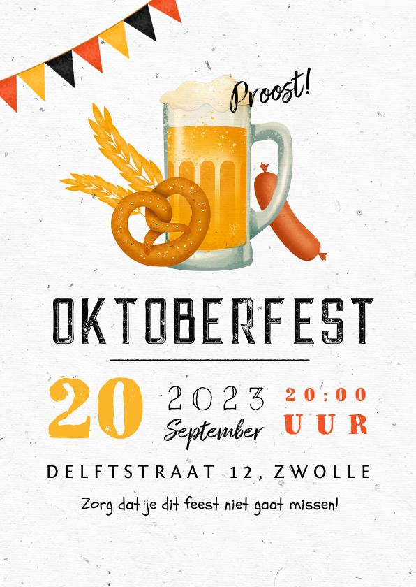 Uitnodigingen - Uitnodiging Oktoberfest duits bier vlaggen pretzel worst