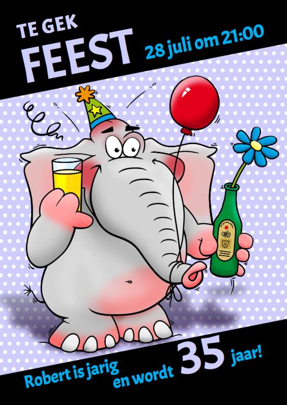 Uitnodigingen - Uitnodiging olifant en bier