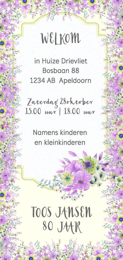 Uitnodigingen - Uitnodiging paars-groene bloemen leeftijd
