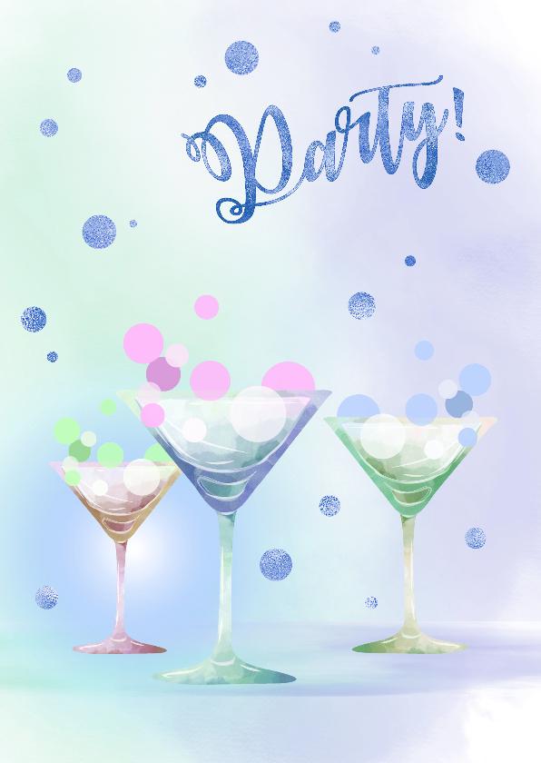 Uitnodigingen - Uitnodiging Party - blauw
