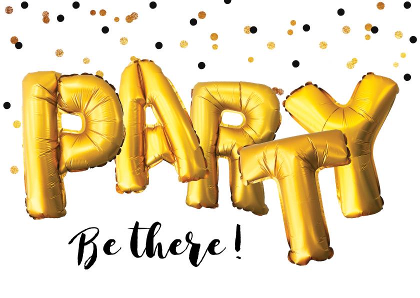 Uitnodigingen - Uitnodiging party goud ballonnen confetti