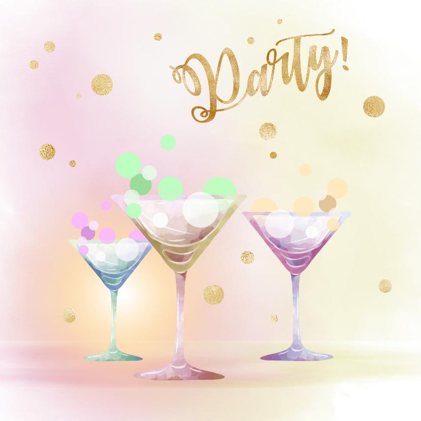 Uitnodigingen - Uitnodiging Party - goud