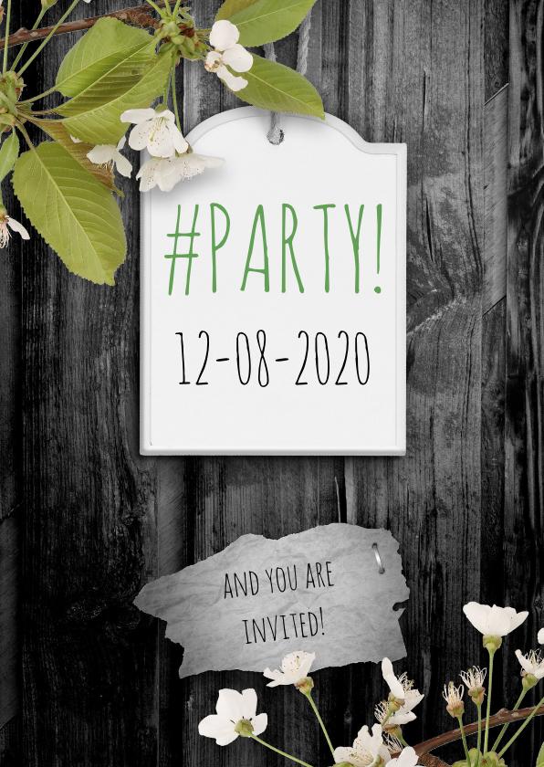 Uitnodigingen - Uitnodiging party hout en label