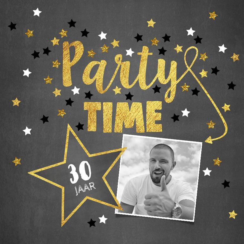Uitnodigingen - Uitnodiging Party-Time foto kaart krijtbord en sterren goud