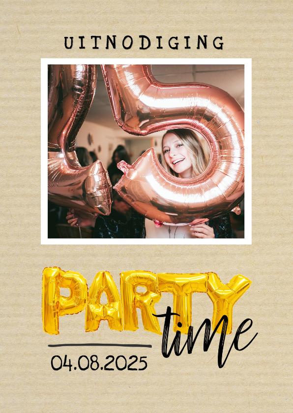 Uitnodigingen - Uitnodiging - party time goudkleurige ballonnen