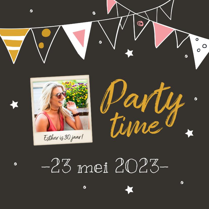 Uitnodigingen - Uitnodiging - party time met foto