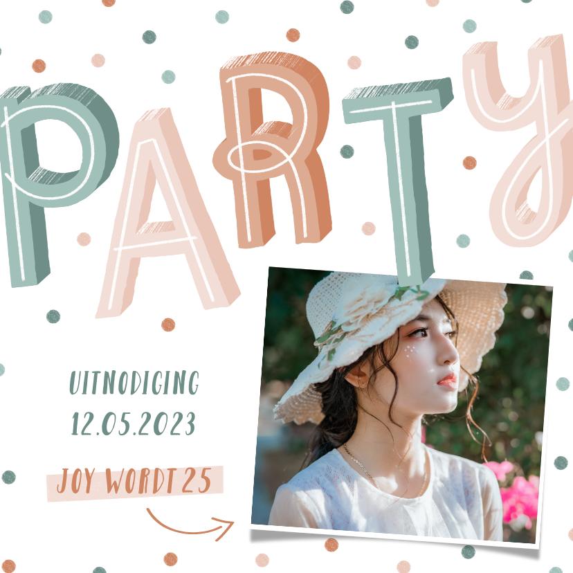 Uitnodigingen - Uitnodiging pastel party met confetti