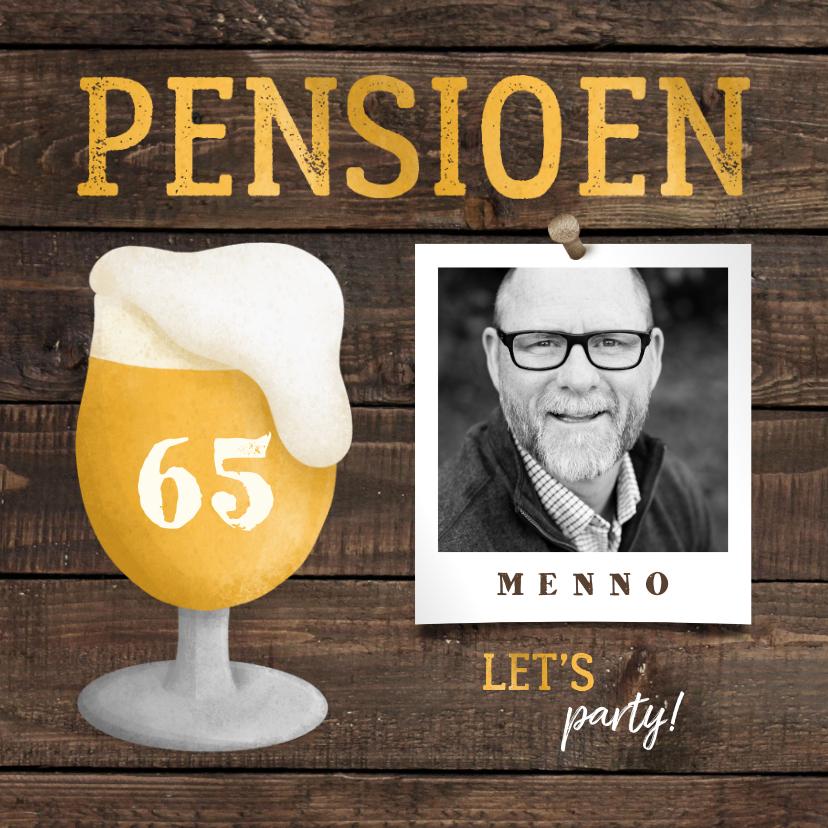 Uitnodigingen - Uitnodiging pensioen bierglas met foto en leeftijd