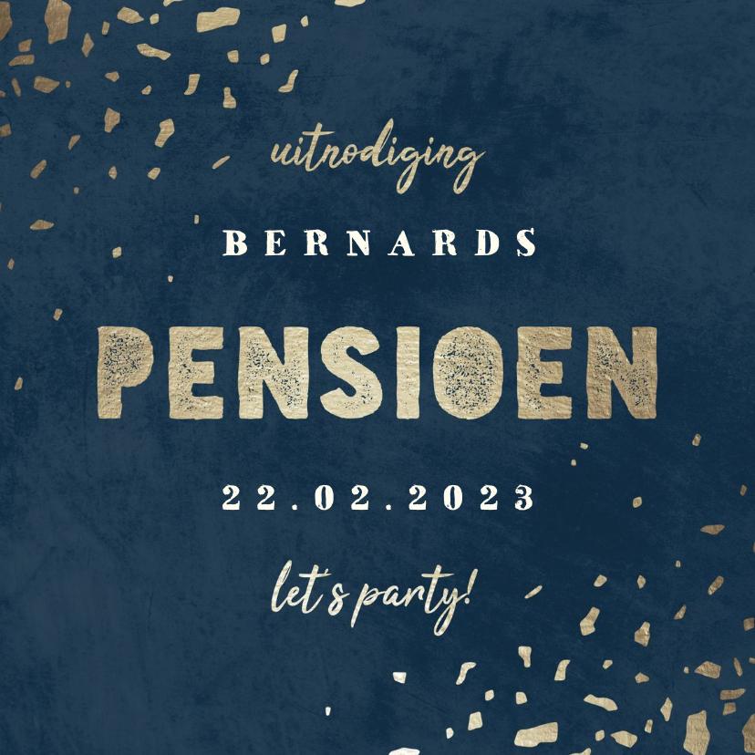 Uitnodigingen - Uitnodiging pensioen donkerblauw met terrazzo patroon
