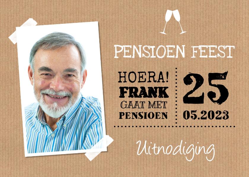 Uitnodigingen - Uitnodiging pensioen feest kraft foto typografie