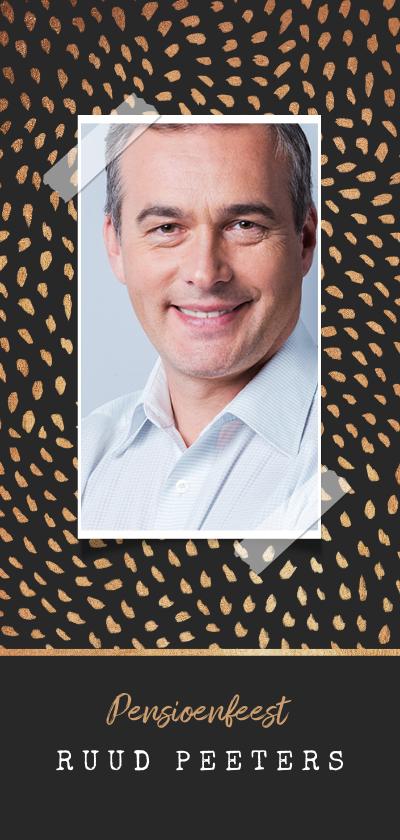 Uitnodigingen - Uitnodiging pensioen goudlook patroon confetti foto
