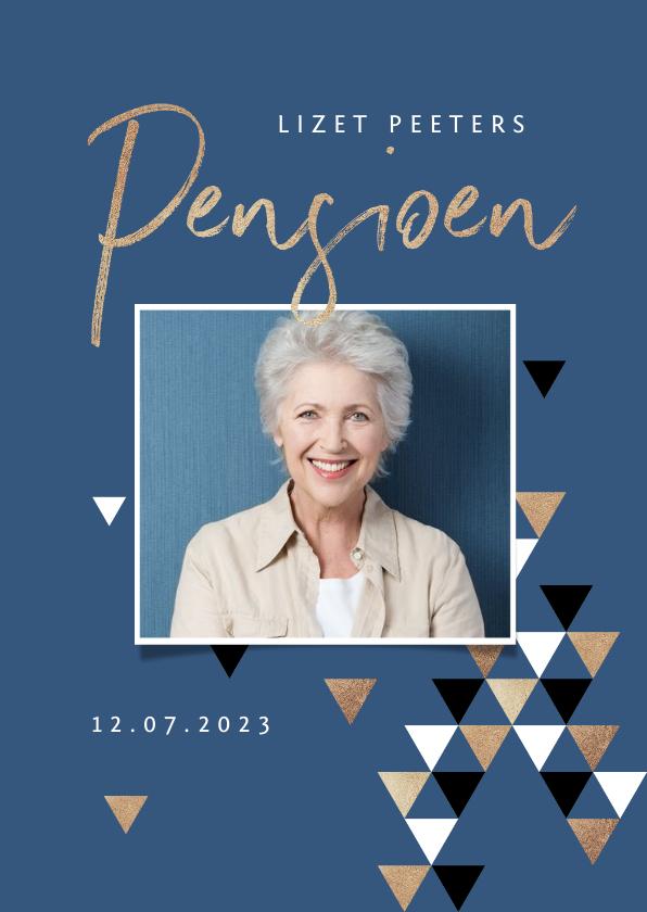Uitnodigingen - Uitnodiging pensioen grafisch driehoek foto goud