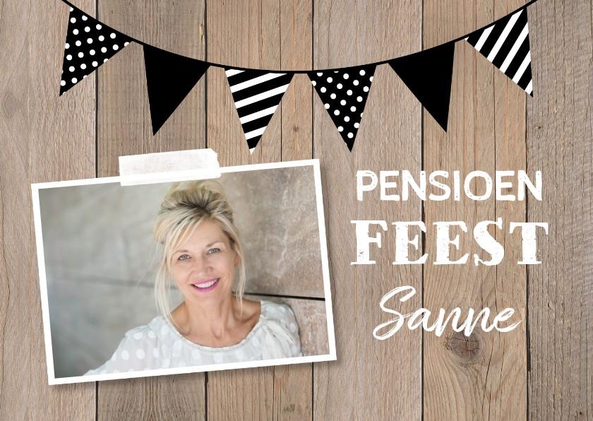 Uitnodigingen - Uitnodiging pensioen kraft foto slinger