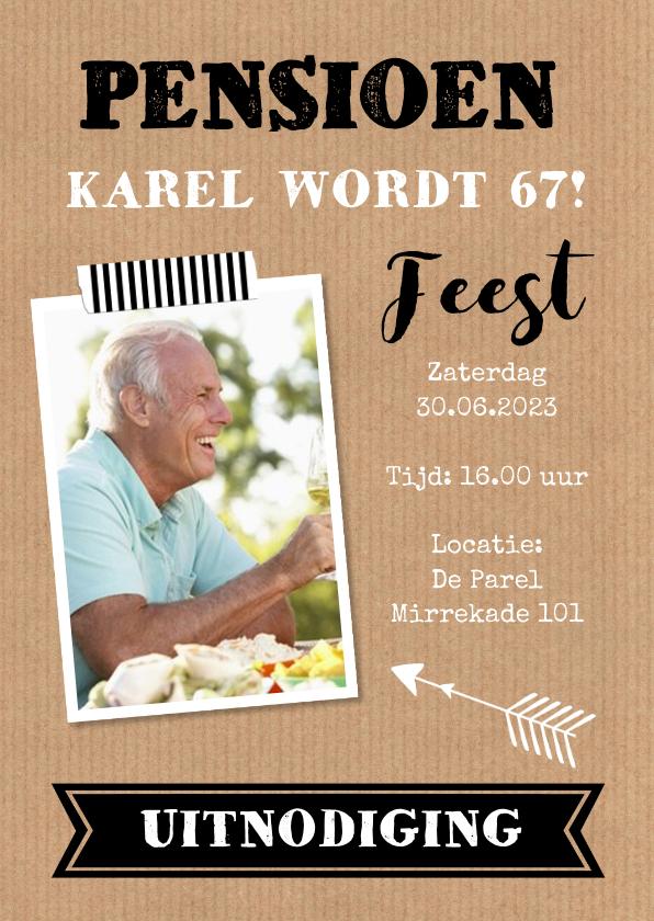 Uitnodigingen - Uitnodiging pensioen kraft foto typografie