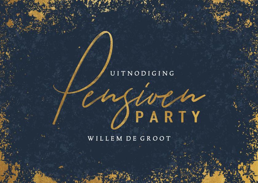 Uitnodigingen - Uitnodiging pensioen met blauwe achtergrond en gouden kader