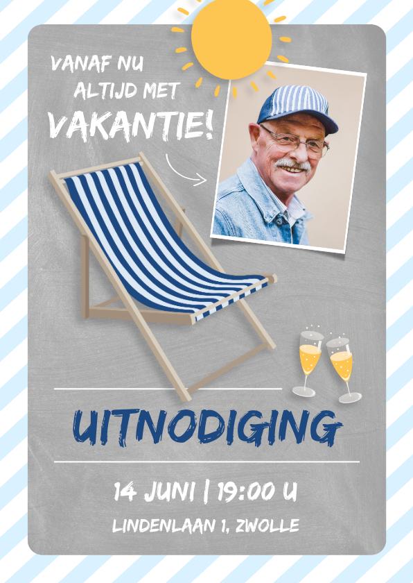Uitnodigingen - Uitnodiging pensioenfeest altijd vakantie