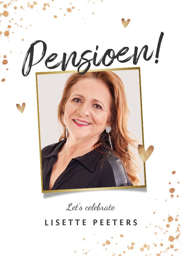 Uitnodigingen - Uitnodiging pensioenfeest goud spetters champagne hartjes