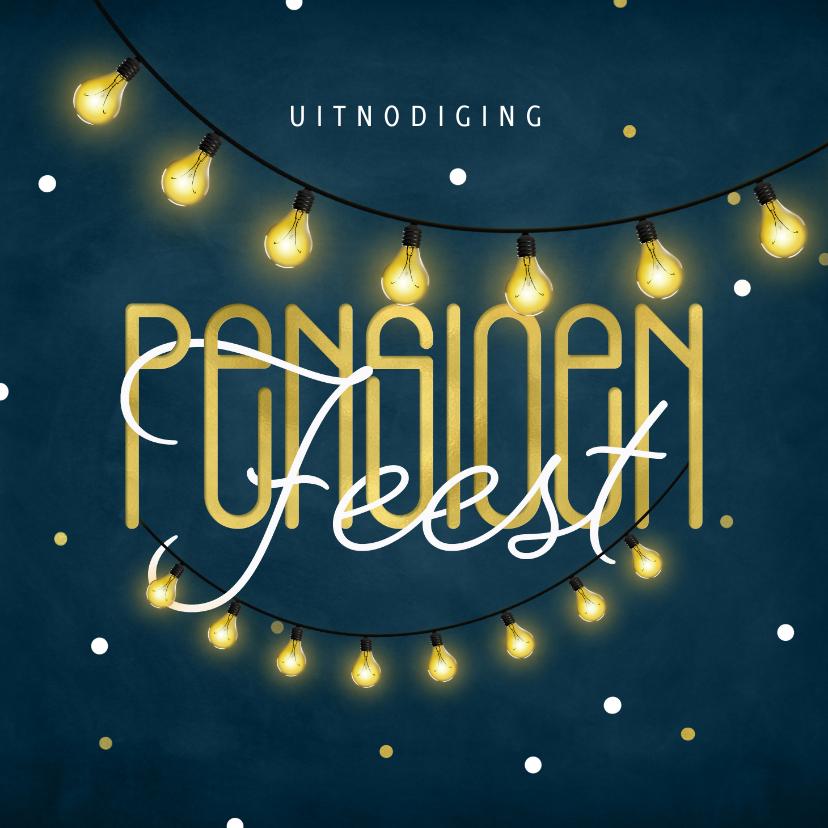 Uitnodigingen - Uitnodiging pensioenfeest krijtbord goud lampjes confetti