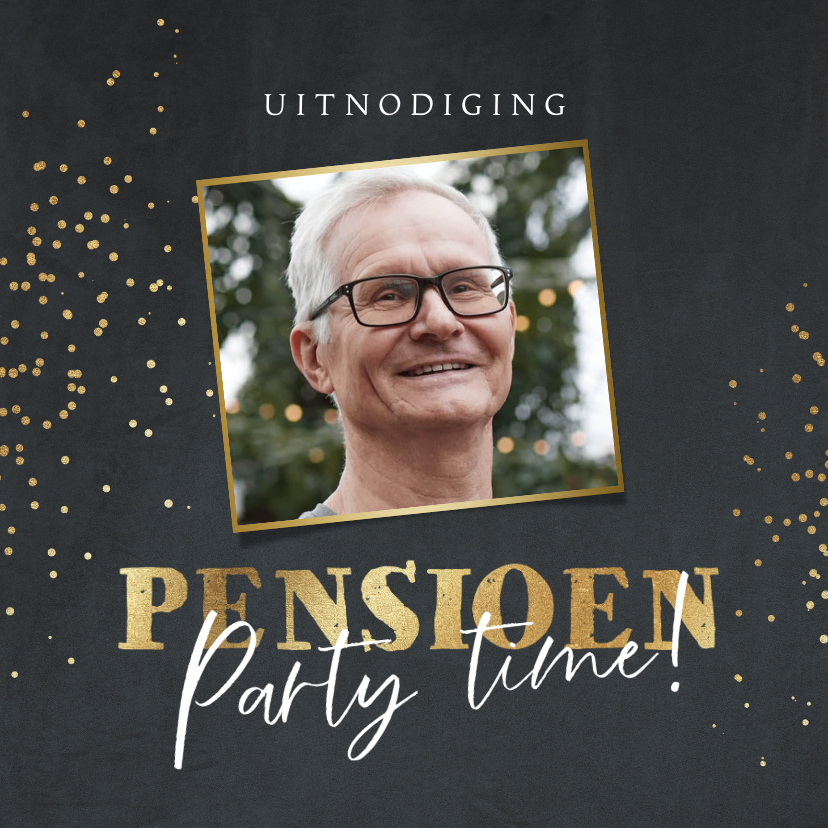 Uitnodigingen - Uitnodiging pensioensfeest met foto en goud op velvetgrijs