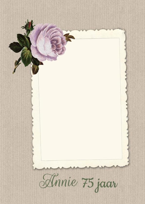 Uitnodigingen - Uitnodiging roosje papier