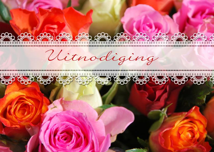 Uitnodigingen - Uitnodiging rozen en kant