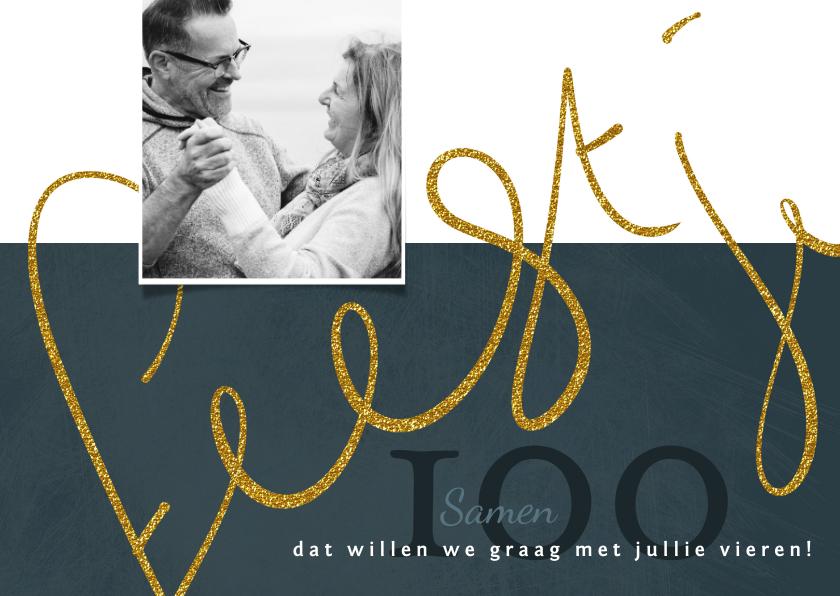 Uitnodigingen - Uitnodiging 'Samen 100' geschreven tekst in goudkleur