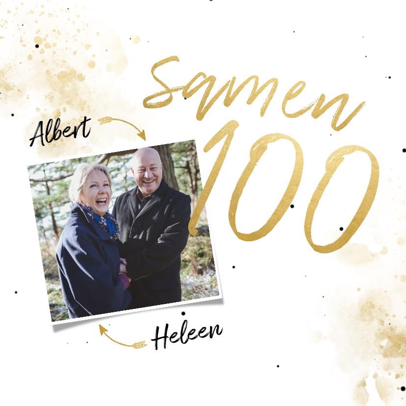 Uitnodigingen - Uitnodiging 'samen 100' met spetters en foto