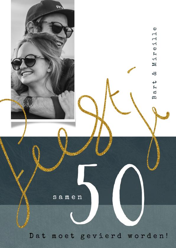 Uitnodigingen - Uitnodiging samen 50, goudkleurig geschreven tekst feestje
