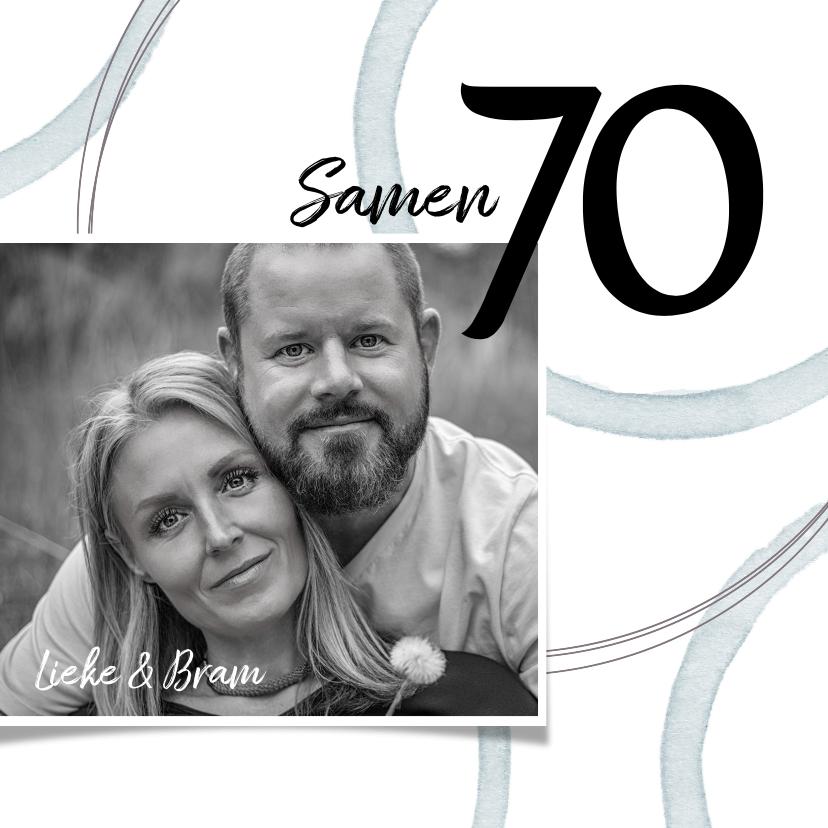 Uitnodigingen - Uitnodiging 'Samen 70' met foto en cirkels