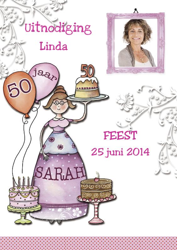 Uitnodigingen - Uitnodiging Sarah met taart