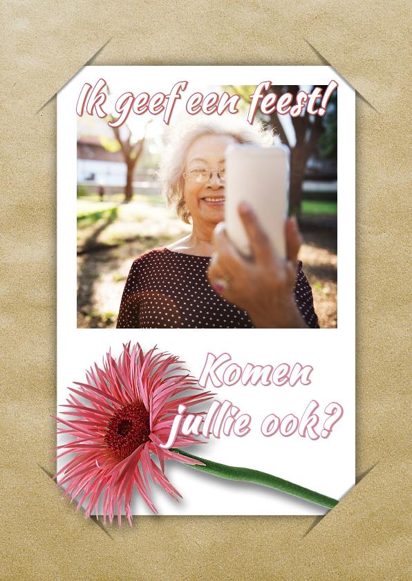 Uitnodigingen - Uitnodiging selfie en bloem RB1